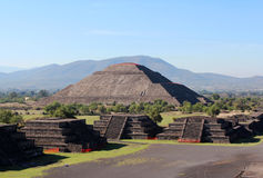 View of the Pyramid of the Sun in Teotihuacan, Mexico. View of the Pyramid of the Sun in Teotihuacan Royalty Free Stock Images