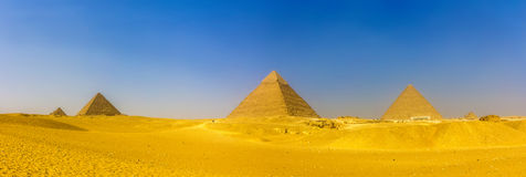 View of pyramids in Giza: Queens' Pyramids, the Pyramid of Menka Royalty Free Stock Images