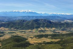 View of pyrenees from Chateau Aguilar, France stock images