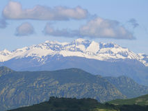 View of Pyrenees from Mont-rebei river gorge Royalty Free Stock Photo