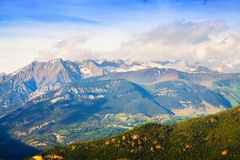 View of Pyrenees mountains landscape with snow Royalty Free Stock Photo