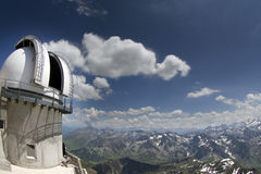 View of pyrenees from pic du midi with observatory Stock Photo