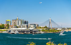 View of Pyrmont district and the Anzac Bridge in Sydney Royalty Free Stock Image