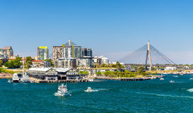 View of Pyrmont district and the Anzac Bridge in Sydney Stock Photos