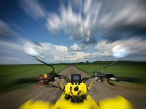 View from a quad bike in nature with amazing sky Royalty Free Stock Photos