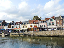 View of Quai Belu on Somme river in Amiens. AMIENS, FRANCE - AUGUST 10, 2014: view of Quai Belu on Somme river in Amiens city, France. Amiens is the capital of royalty free stock image