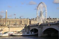 View from Quai d'Orsay at Pont de la Concorde and the Big ferris wheel, Paris, France Stock Photos