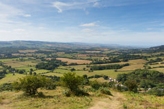 View from the Quantock Hills Somerset England towards Bristol Channel Stock Photography