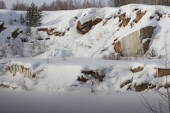 View of the quarry and forest in the Urals Royalty Free Stock Image