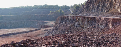 View into a quarry mine pit. Stock Photo