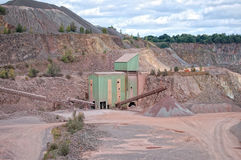 View into a quarry mine and stone crusher Royalty Free Stock Image