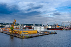 View of the quay port and shipyard Royalty Free Stock Photos