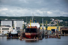 View of the quay port and shipyard Stock Image