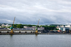 View of the quay port and shipyard Royalty Free Stock Images