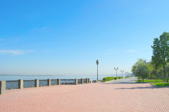 View on quay of river Volga Royalty Free Stock Image