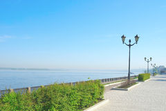View on quay of river Volga Royalty Free Stock Images