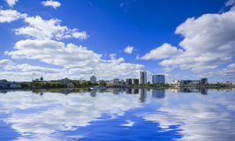 View of quay wharf embankment Yekaterinburg Royalty Free Stock Photo