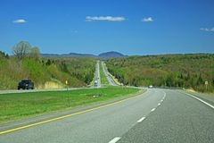 View Of Quebec Highway 10 Between Granby And Sherbrooke. A look at Highway 10, the four lane limited access freeway between Granby and Sherbrooke in the Eastern stock photos