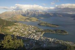 View of Queenstown and Lake Wakatipu, New Zealand Stock Photo