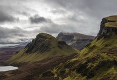 View from Quiraing looking south with staffin bay to the left. stock photo