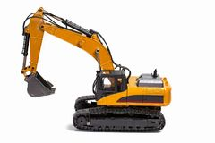 View of R/C model excavator racing cars on a white background. Free time Children and adults concept royalty free stock image