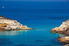 View of the Rabbits Beach or Conigli island, Lampedusa. View of the most famous sea place of Lampedusa, It is named Spiaggia dei conigli,  in English language stock images