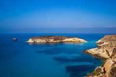 View of the Rabbits Beach or Conigli island, Lampedusa. View of the most famous sea place of Lampedusa, It is named Spiaggia dei conigli,  in English language stock image