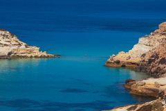 View of the Rabbits Beach or Conigli island, Lampedusa. View of the most famous sea place of Lampedusa, It is named Spiaggia dei conigli,  in English language royalty free stock photos