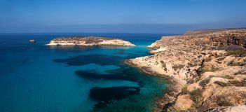 View of the Rabbits Beach or Conigli island, Lampedusa. View of the most famous sea place of Lampedusa, It is named Spiaggia dei conigli,  in English language stock photo