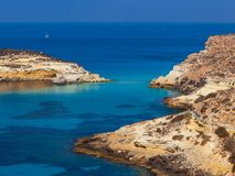 View of the Rabbits Beach or Conigli island, Lampedusa. View of the most famous sea place of Lampedusa, It is named Spiaggia dei conigli,  in English language stock photography