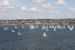 View with racing yachts Stock Photo