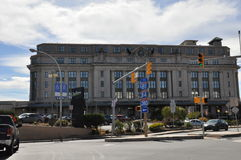 View of Radisson Lackawanna Station Hotel buildind. A view of Radisson Lackawanna Station Hotel, a former train station, Scranton, Pennsylvania stock photography
