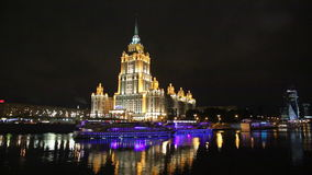 View of the Radisson Slavyanskaya hotel, and the tourist boat, Moscow, Russia. View of the Radisson Slavyanskaya hotel, the former Ukraine and the tourist boat stock footage