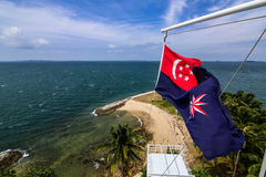 View from Raffles Lighthouse and the State Marine Ensign Stock Image