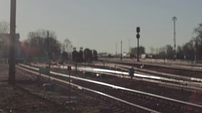 View of the rail at the railway station.Defocusing. Focusing. View of the rail at the railway station. Photographed at the railway station Rzhev 2. Early morning stock footage