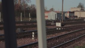 View of the rail at the railway station. Photographed at the railway station Rzhev 2. Early morning stock video footage
