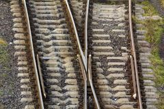 View of the rail road tracks from above royalty free stock images