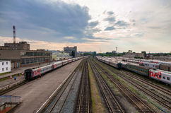 View of Rail Terminal in city Ivanovo in summertime. Royalty Free Stock Image