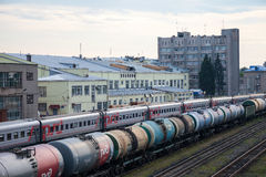 View of Rail Terminal in city Ivanovo in summertime. Royalty Free Stock Photography