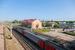 View of Rail Terminal Okulovka and rail ways in summer sunny day Royalty Free Stock Image