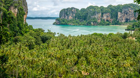 View on Railay beach from a height, Krabi, Thailand.  Royalty Free Stock Photos