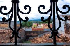 View through railing over Trinidad. Cuba Stock Images
