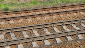 View Of Railroad Track Moving At High Speed. Camera moves along railway stock footage