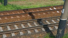 View Of Railroad Track Moving At High Speed. Camera moves along railway stock video footage