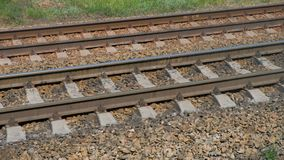 View Of Railroad Track Moving At High Speed. Camera moves along railway stock video