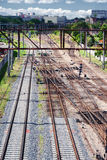 View of the railroad tracks Stock Images