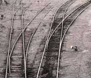 View on a railroad tracks. View from above on a railroad tracks stock images