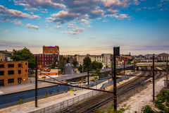 View of railroad tracks in Baltimore, Maryland. Stock Photo