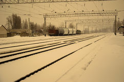 View on railroad tracks on winter. Retro style Royalty Free Stock Images