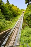 View of the rails of a funicular in the mountains of northern It Stock Images